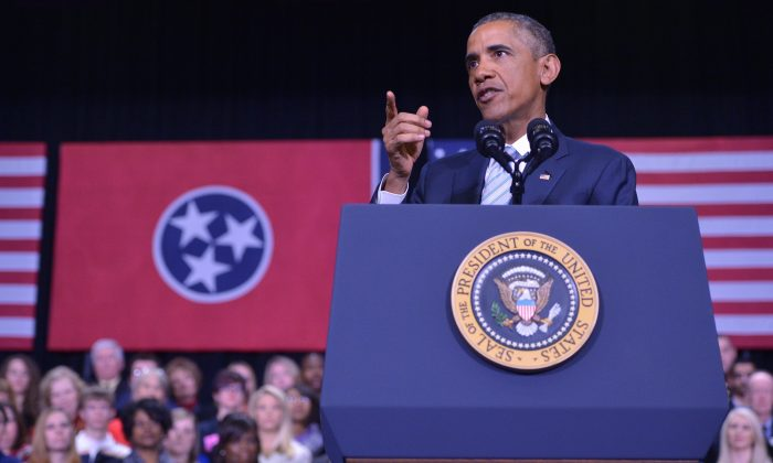 U.S. President Barack Obama speaks on new proposals for higher education accessibility at Pellissippi State Community College in Knoxville, Tenn., on Jan. 9, 2015. (Mandel Ngan/AFP/Getty Images)