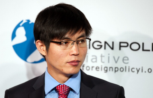 """Escaped prisoner from North Korean Internment Camp 14 Shin Dong-Hyuk speaks during a conversation on """"America's Role in Promoting Democracy and  Human Rights """" at the 2012 Foreign Policy Initiative Forum in Washington on November 27, 2012.       (Jim Watson/AFP/Getty Images)"""