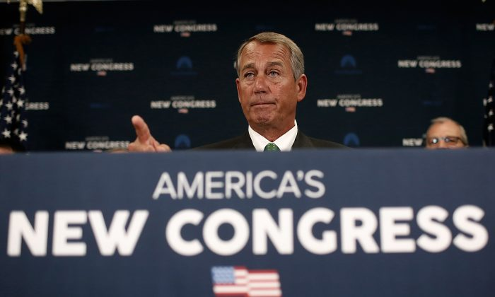 Speaker John Boehner (R-Ohio.) answers questions during a press conference at the U.S. Capitol January 7, 2015 in Washington, DC. 56% of Americans said they support efforts by the new Congress to defund president Obama's November execution action on immigration.  (Win McNamee/Getty Images)