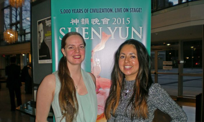 Sophie Austin and Katie Fink attend Shen Yun at the Queen Elizabeth Theatre in Vancouver on Jan. 18, 2015. (Joan Delaney/Epoch Times Staff)
