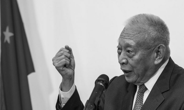 Former Hong Kong Chief Executive Tung Chee-hwa speaks during a press conference in Hong Kong on Sept. 3, 2014. (Xaume Olleros/AFP/Getty Images)