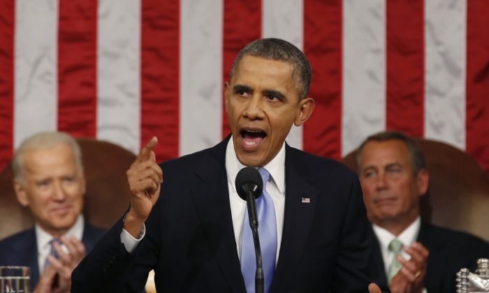 U.S. President Barack Obama delivers his State of the Union speech on Capitol Hill on January 28, 2014 in Washington, DC. (Larry Downing-Pool/Getty Images)