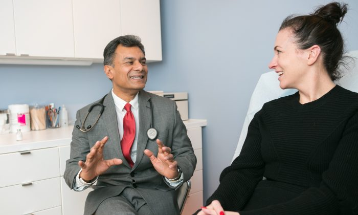 Dr. Lionel Bissoon sees a patient at his Liondale clinic on the Upper West Side on Jan. 6. Bissoon uses hormone therapy to help patients reverse the adverse effects of aging.