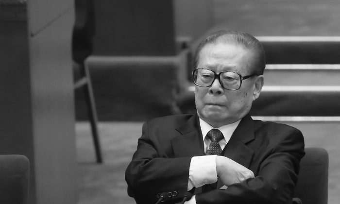 Former Communist Party chief Jiang Zemin attends the 18th National Congress of the Communist Party of China in Beijing, China on Nov. 14, 2012. (Feng Li/Getty Images)