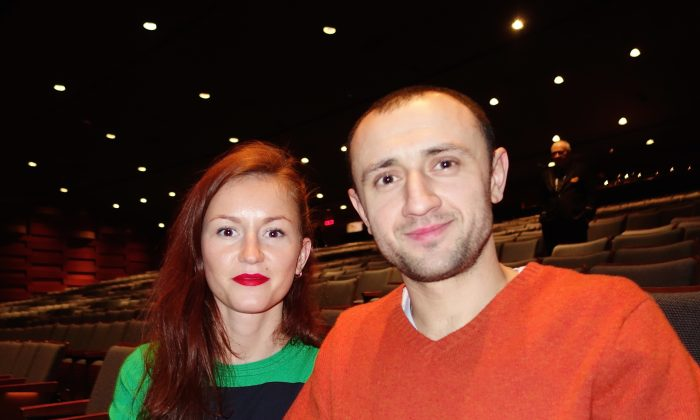 Daria Valeyeva and Yuriy Sulakov were among the last to leave the theatre at Toronto's Sony Centre on Jan. 24, 2015, contemplating the Shen Yun performance they had just seen. (Epoch Times)