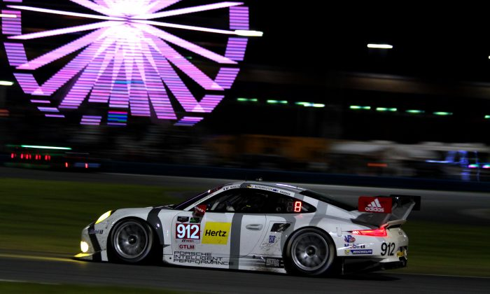 Earl Bamber in the #912 Porsche North America 911 RSR had nowhere to go when the #007 Aston collided with the #911 Porsche immediately ahead of Bamber.(Chris Jasurek/Epoch Times)