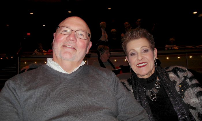 Bill and Janis Pohlman as they enjoy their evening at Dayton's Mead Theatre - Benjamin And Marian Schuster Performing Arts Center. Mr. Pohlman noted the spirituality in Shen Yun's performance. (Sherry Dong/Epoch Times)