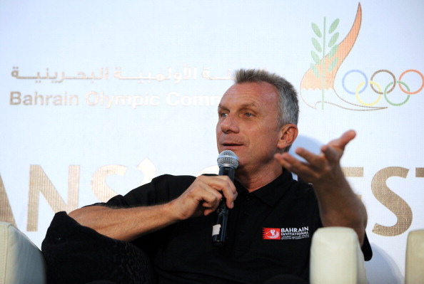 Former NFL player Joe Montana attends the Sportsmans question time during the Bahrain Invitational at the Royal Golf Club Montgomerie Course on April 13, 2012 in Riffa, Bahrain.  (Photo by Phil Weymouth/Getty Images)