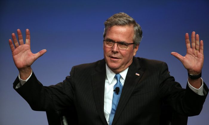 GOP presidential front-runner Jeb Bush speaks during the 2015 National Auto Dealers Association (NADA) conference on January 23, 2015 in San Francisco, California. (Photo by Justin Sullivan/Getty Images)