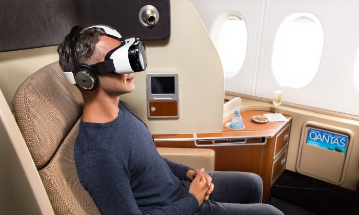 Qantas and Samsung Australia are launching a new trial inflight entertainment service using virtual reality headsets starting in March, 2014. (Courtesy of Qantas)