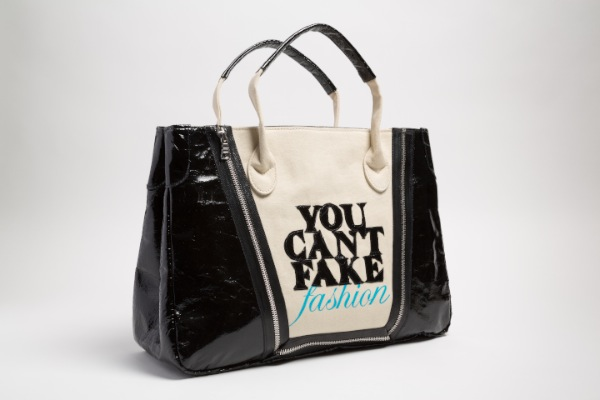 """Catherine Malendrino """"You Can't Fake Fashion"""" eBay x CFDA anti-counterfeit campaign Tote, 2013 in vinyl, cotton, USA. (© The Museum at FIT)"""