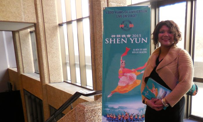 Brandi Adams in the lobby of Mahalia Jackson Theatre after Shen Yun's performance in New Orleans on Jan. 31, 2015. (Mary Silver/Epoch Times)