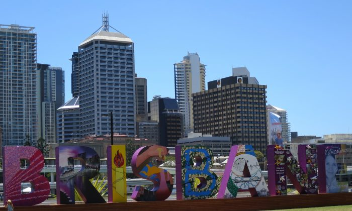 Brisbane's South Bank Parklands with CBD behind. (Epoch Times)