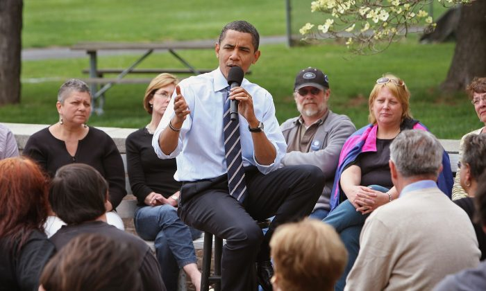 The White House said Tuesday that it opposes a federal vaccine mandate. President Barack Obama had previously said at a 2008 campaign stop at Montgomery County Community College that more research was needed on whether vaccination caused autism, shown here at the college on April 21, 2008, in Pennsylvania. (Scott Olson/Getty Images)