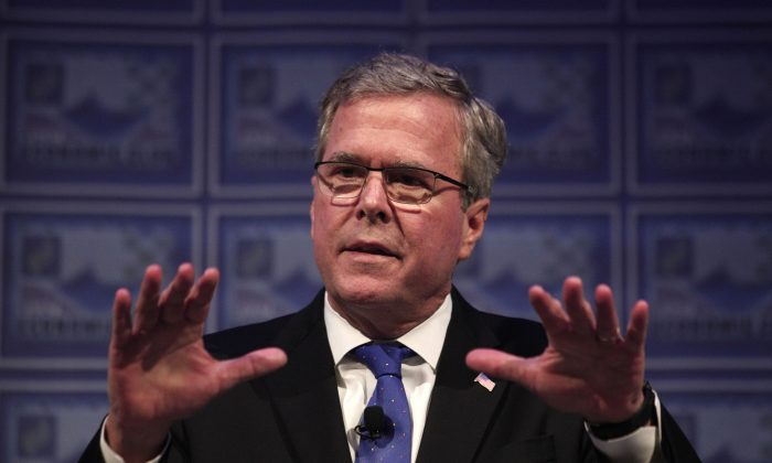 GOP 2016 presidential front-runner Jeb Bush gives a speech outlining his economic platform at the Detroit Economic Club on February 4, 2015 in Detroit, Michigan. (Bill Pugliano/Getty Images)
