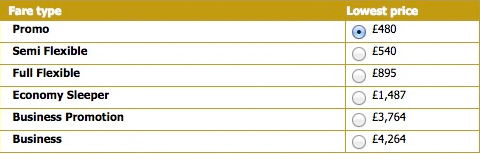 Fares results for Air Astana from Astana, Kazakhstan to London, departing Feb. 14, returning Feb. 28. (Air Astana)