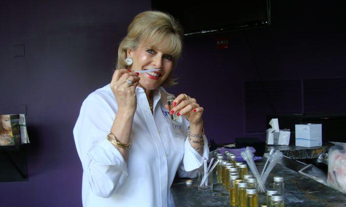 """Sue Phillips in the lab at """"The Scentarium"""""""