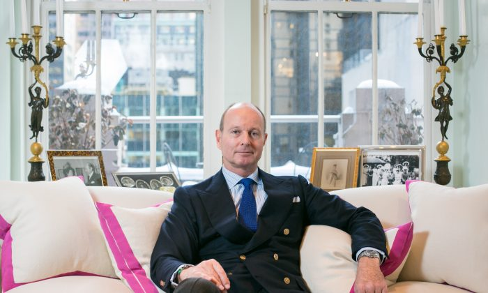 Prince Dimitri of Yugoslavia describes how he designs his jewelry using the Golden Ratio in his atelier in Midtown Manhattan on Jan. 30. (Benjamin Chasteen/Epoch Times)