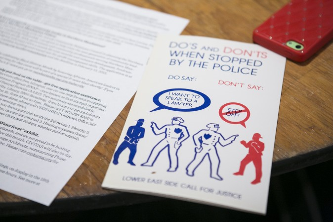 A pamphlet from a forum on how to improve police-community relations in Washington Heights, Manhattan, on Feb. 2, 2015. Residents and police officers sat together to respectfully voice their concerns. (Samira Bouaou/Epoch Times)
