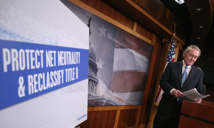 Sen. Edward J. Markey (D-MA) arrives to speak about net neutrality during a news conference on Capitol Hill, February 4. 2015 in Washington, DC. (Mark Wilson/Getty Images)