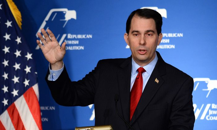 Wisconsin Gov. Scott Walker speaks during the Republican Jewish Coalition spring leadership meeting at The Venetian Las Vegas on March 29, 2014 in Las Vegas, Nevada. (Ethan Miller/Getty Images)