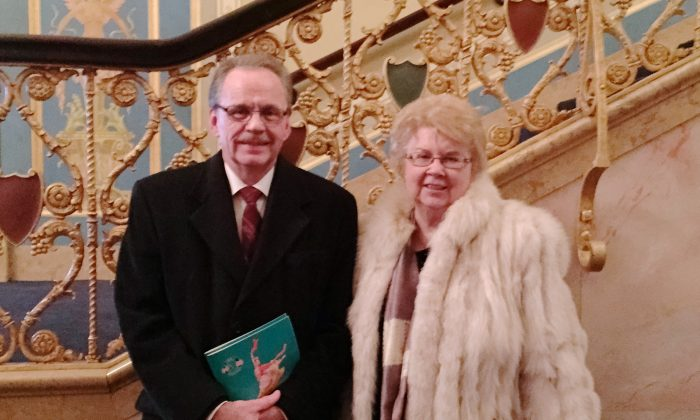Tom and Brenda Schneider attend Shen Yun Performing Arts at the Detroit Opera House, on Feb. 7, 2015.  (Cat Rooney/Epoch Times)