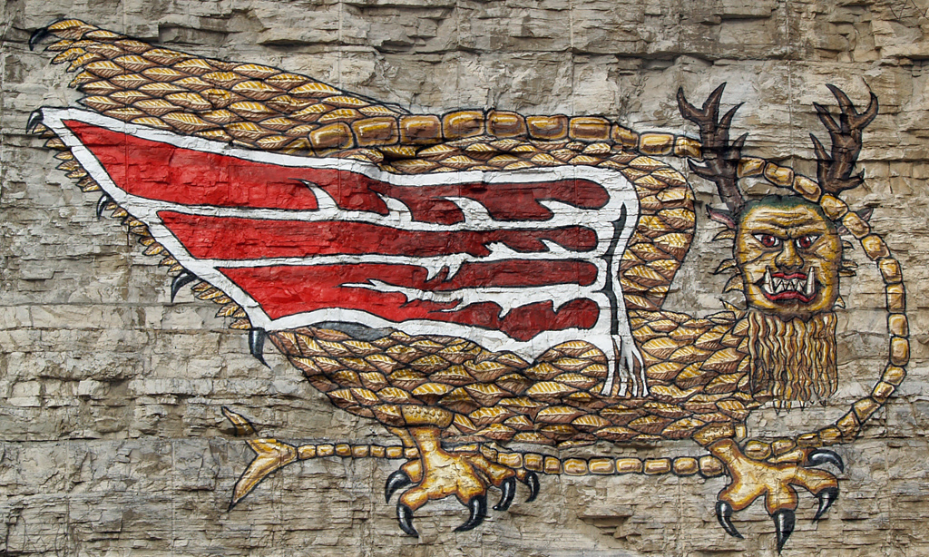A Recreation Of The Piasa Bird Painting In Alton Ill On Great River