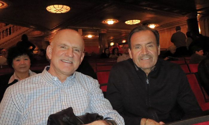 Blaze Baulic and John Schiller enjoy Shen Yun Performing Arts at Cleveland's State Theater, on Feb. 10, 2015. (Sally Sun/Epoch Times)