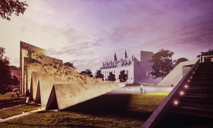 An image of the draft design of the National Memorial to Victims of Communism, with the Supreme Court of Canada in the background. In response to criticism of the location of the memorial, Ludwik Klimkowski, chair of Tribute to Liberty, says the site is symbolic and the right place for the monument. (Matthew Little/Epoch Times)