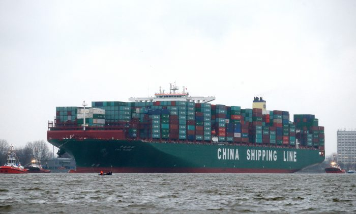A China Shipping Group cargo ship arrives at the port of Hamburg, Germany, on Jan. 13. (Joern Pollex/AFP/Getty Images)