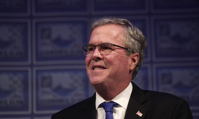 Former Florida Governor Jeb Bush laying out his economic platform at the Detroit Economic Club February 4, 2015 in Detroit, Michigan. (Bill Pugliano/Getty Images)
