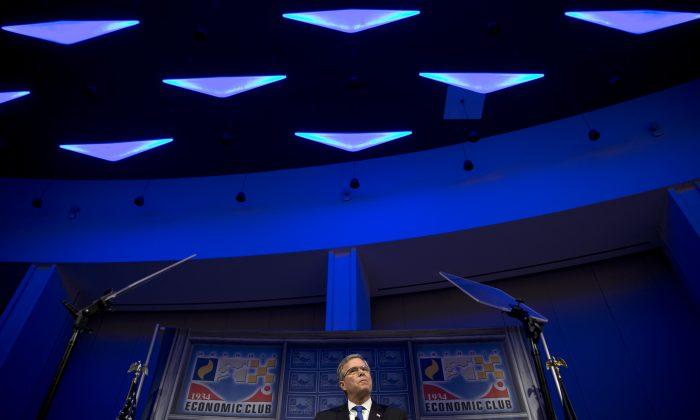 Former Florida Gov. Jeb Bush speaks at a Economic Club of Detroit meeting in Detroit Wednesday, Feb. 4, 2015. (AP Photo/Paul Sancya)