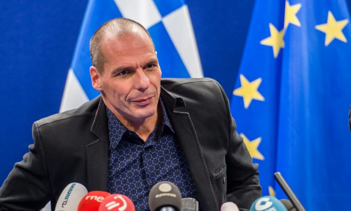 Greece's Finance Minister Yanis Varoufakis addresses the media after a meeting of Eurogroup finance ministers at the EU Council building in Brussels on Feb. 16, 2015. (AP Photo/Geert Vanden Wijngaert)