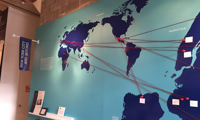 A map linking endangered languages spoken in New York City to their places of origin, at City Lore gallery on the Lower East Side, Manhattan, on Jan. 30, 2015. (Christine Lin/Epoch Times)