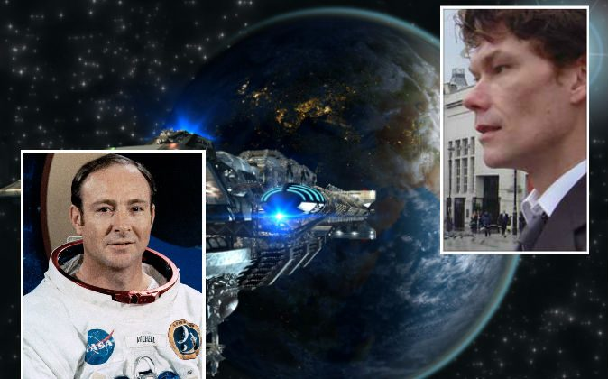 "Left: Astronaut Dr. Edgar Mitchell. (NASA) Right: U.K. computer hacker Gary McKinnon, who has allegedly viewed U.S. government UFO images and excel documents describing ""non-terrestrial officers."" (Wikimedia Commons) Background: Illustration of a spaceship. (Shutterstock*)"