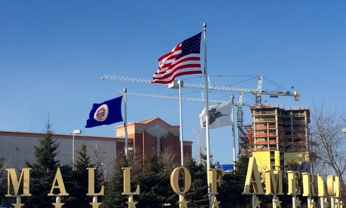A Sunday, Feb. 22, 2015 photo shows the exterior of the Mall of America in Bloomington, Minn. A video released late Saturday by the terrorist group al-Shabab urged Muslims to attack shopping malls in North America, Britain and other Western countries, specifically mentioning the Mall of America in Minnesota. (AP Photo/Star Tribune, Jerry Holt)