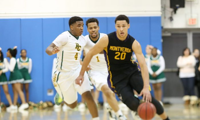 Montverde Academy's Ben Simmons #20 in action against Roselle Catholic during a high school basketball game on Friday, Feb. 13, 2015, in Kean, NJ.  Montverde won the game. (AP Photo/Gregory Payan)