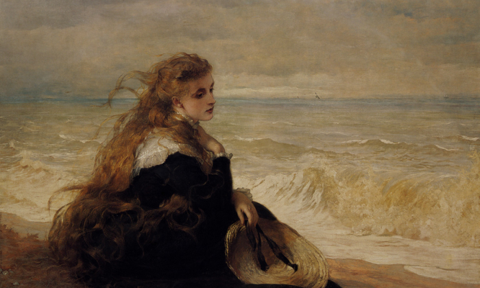 """On The Seashore,"" 1879, by George Elgar Hicks. Oil on canvas. Private collection. (Image courtesy of Art Renewal Center)"