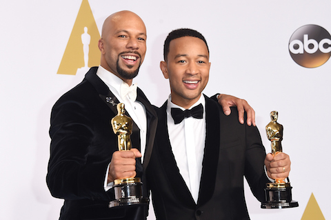 Lonnie Lynn aka Common (L) and John Stephens aka John Legend winners of the Best Original Song Award for 'Glory' from 'Selma' pose in the press room during the 87th Annual Academy Awards at Loews Hollywood Hotel on February 22, 2015 in Hollywood, California.  (Jason Merritt/Getty Images)