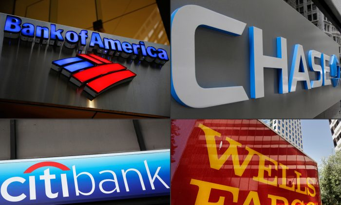This combination made from file photos shows bank branches of, clockwise from top left, Bank of America, Chase, Wells Fargo, and Citibank. A new economics report found that recessions don't need to be followed by periods of slow economic recovery. (AP Photo)