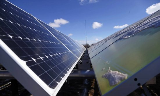 In this Feb. 26, 2015 photo, solar panels that are part of the Wright-Hennepin Cooperative Electric Association's community gardens are shown in Rockford, Minn. (AP Photo/Jim Mone)