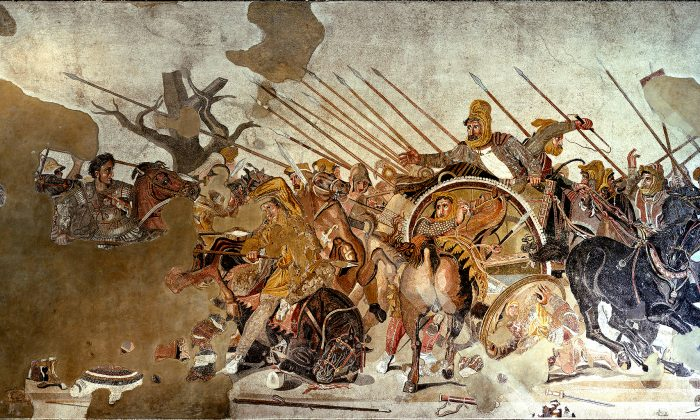Mosaic at Museo Archeologico Nazionale in Naples depicting Alexander at the Battle of Issus. Alexander forcibly united Greece, conquered the Persian Empire, Egypt, conquered and established the Macedonian colonies in Iran, and overthrew northern India, to name a few of his victories. (Public Domain/Wikimedia Commons)