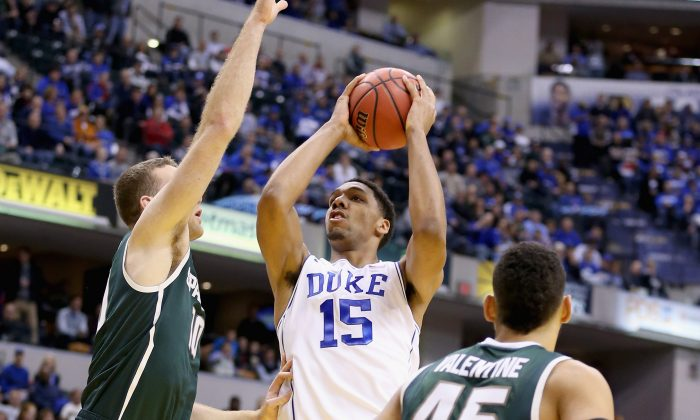 Jahlil Okafor scored 17 points in Duke's first meeting with Michigan State. (Andy Lyons/Getty Images)