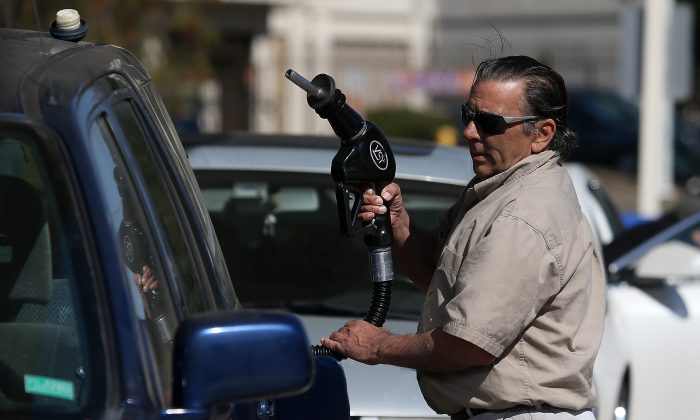 A gas station in Mill Valley, Calif., on March 3, 2015. The pump price for gasoline was $2.24 per gallon on Aug 29, according to EIA. This was the before Labor Day since 2004. (Justin Sullivan/Getty Images)