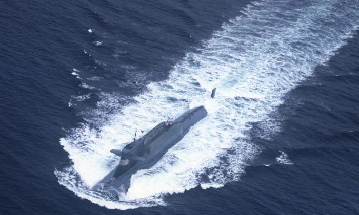 An undated photo shows a nuclear-powered submarine of the People's Liberation Army Navy's North Sea Fleet preparing to dive into the sea. The Chinese regime has begun deploying submarines armed with intercontinental ballistic missiles. (AFP/AFP/Getty Images)