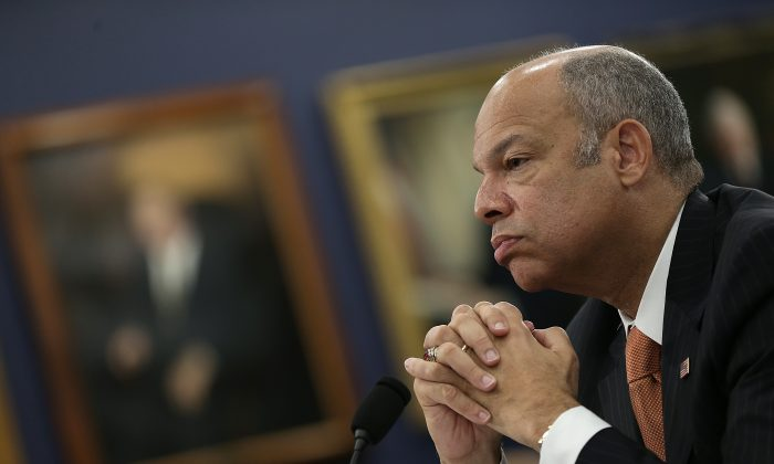 Homeland Security Secretary Jeh Johnson testifies before a security subcommittee on March 26, 2015, in Washington. Johnson will address cybersecurity during a meeting in Beijing. (Win McNamee/Getty Images)