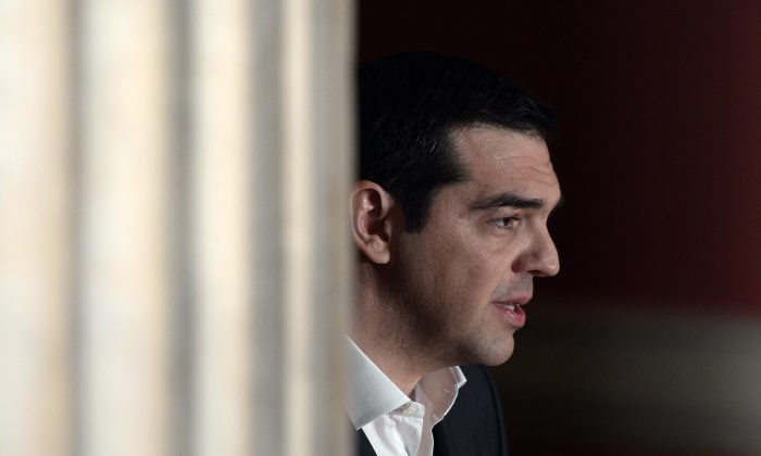 """Greek Prime Minister Alexis Tsipras delivers a speech at Athens University entitled """"The Greek Revolution as European Fact"""" on the occasion of Greece's Independence Day on March 25, 2015. (Louisa  Gouliamaki/AFP/Getty Images)"""