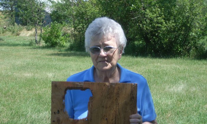 A resident of Vivian, SD displays a section of roof that was damaged by the hailstorm on July 23, 2010. (Courtesy of NOAA)