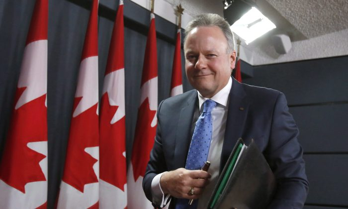 Bank of Canada governor Stephen Poloz leaves a press conference after the central bank's decision to hold the overnight rate target at 0.75 percent in Ottawa on April 15, 2015. (The CanadianPress/ Patrick Doyle)