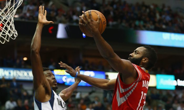 James Harden (R) of the Houston Rockets will need to be at his best to get past Dallas. (Ronald Martinez/Getty Images)